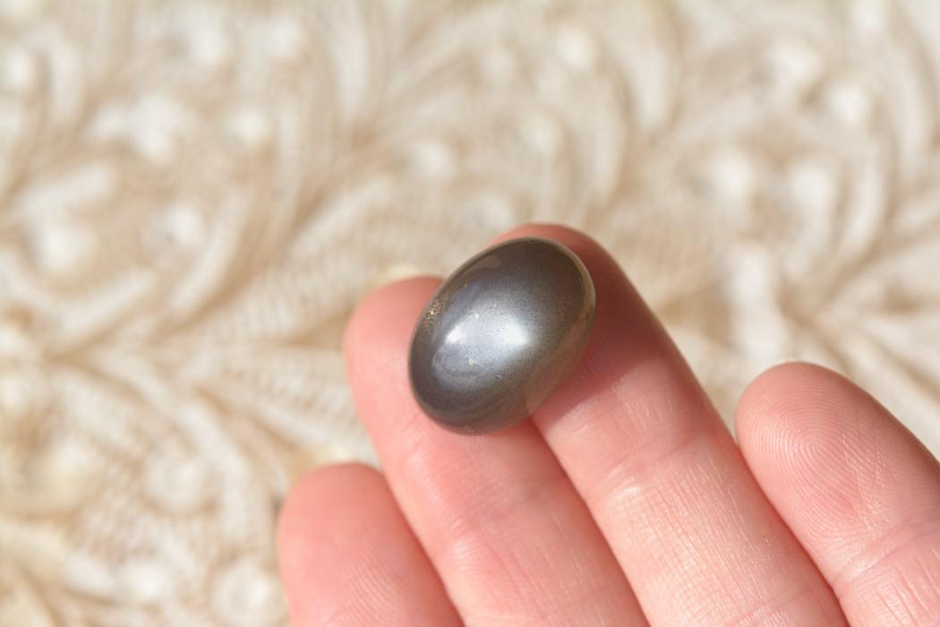 ブラックムーンストーンキャッツアイ 【10】天然石ルース・カボション(17×14.5mm)