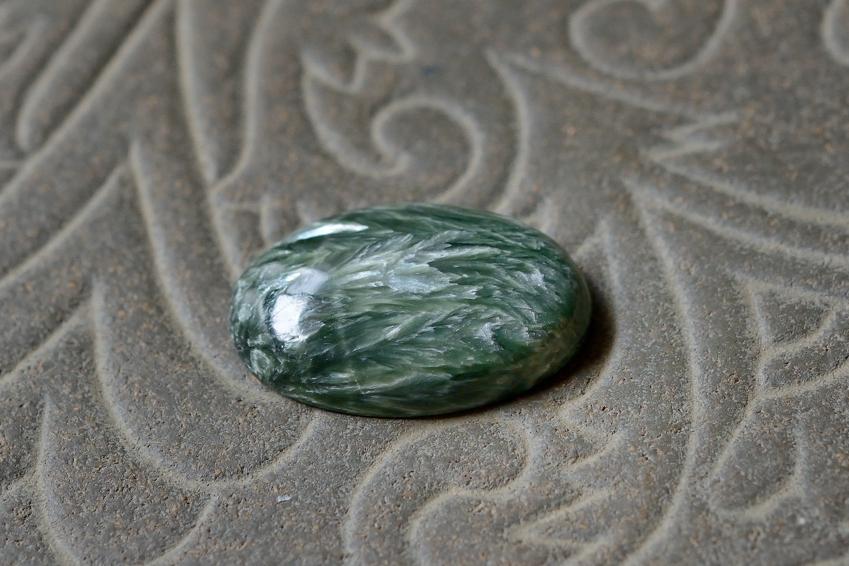 セラフィナイト【15】 天然石ルース・カボション(30×21mm)