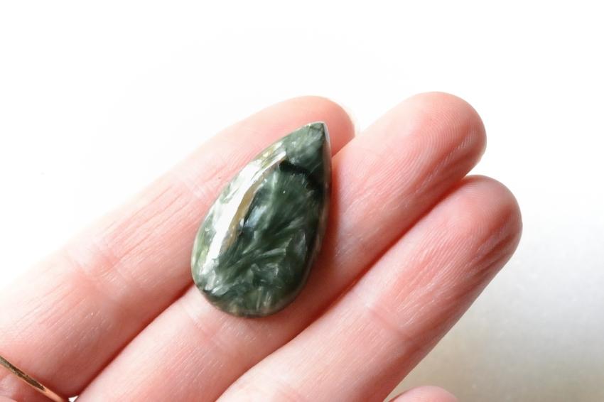 セラフィナイト【21】 天然石ルース・カボション(28.5×16mm)